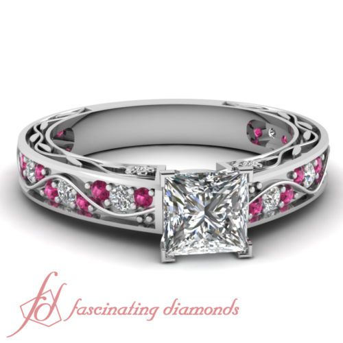 90 ct princess cut diamond pink sapphire heirloom pave set engagement ring - Wedding Rings On Ebay