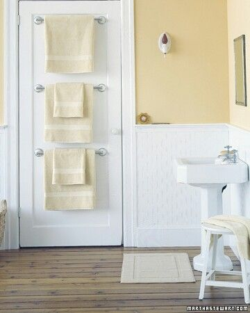 Great Tiny Bathroom: Install Multiple Towel Rods On The Back Of Your Door. Why  Just Hang One When You Can Hang Three? You Could Also Opt For An Over Door  Towel ...