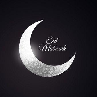 Eid mubarak beautiful background with silver moon