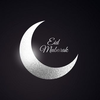 Eid mubarak beautiful background with silver moon