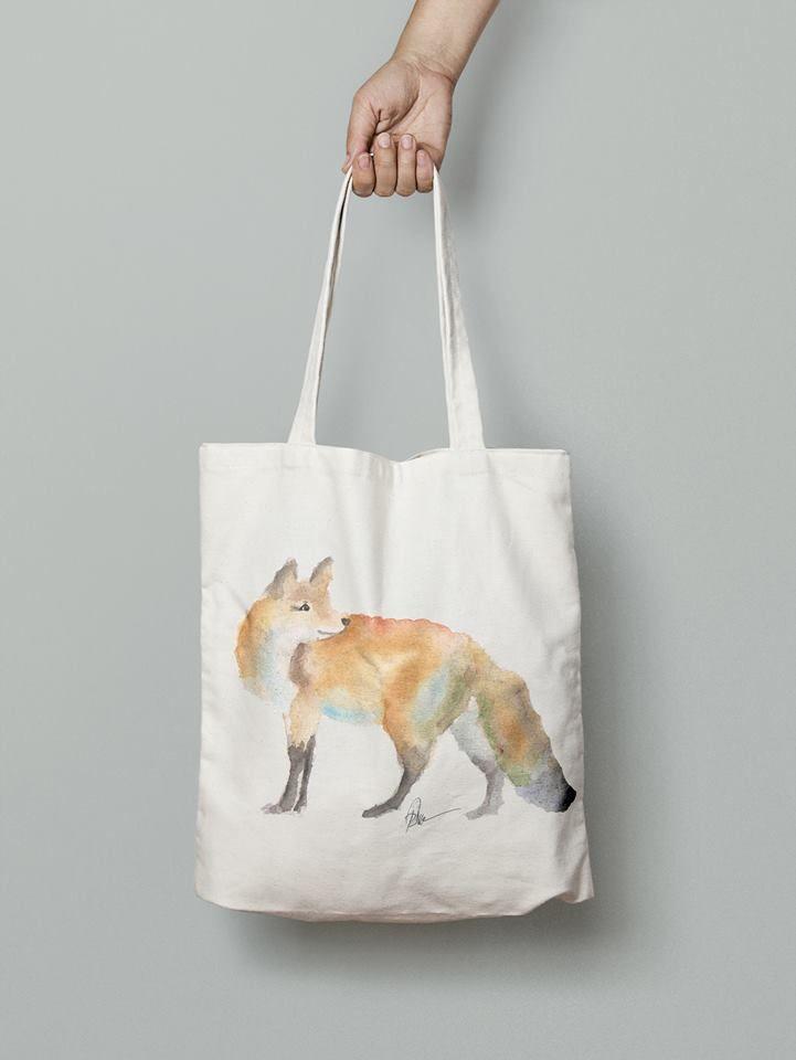 Fox handmade eco friendly handbag- watercolor printed