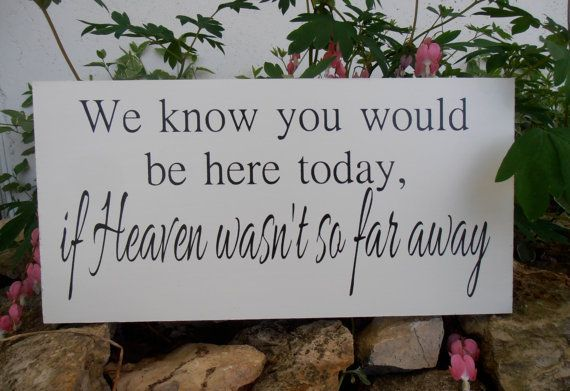 We know you would be here today if Heaven wasnt so ...