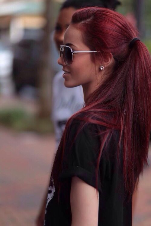 Dark red mahogany brown hair More