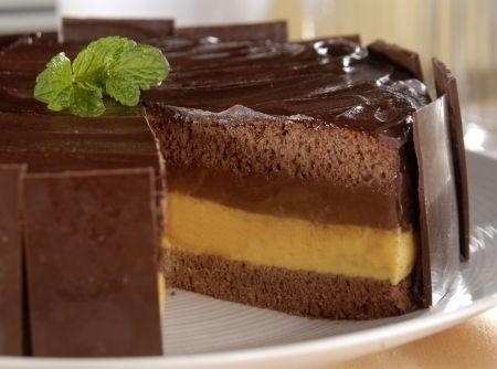 Receita de Bolo Dupla Paixão - bolo. Reserve em temperatura ambiente por cerca de 2 horas ou até espessar. Na fôrma em que o bolo foi assado, coloque uma camada da massa,...