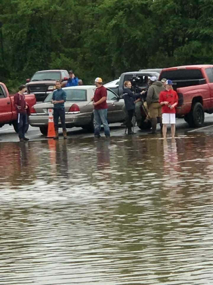 Rednecks fishing in flooded Value City parking lot - Danville VA