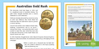 Gold Rush Differentiated Fact File-Australia - Gold Rush, Eureka Stockade, history, gold,Australia