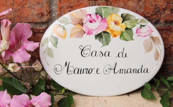 Custom porcelain roses House plaque House name by DipintoAdArte