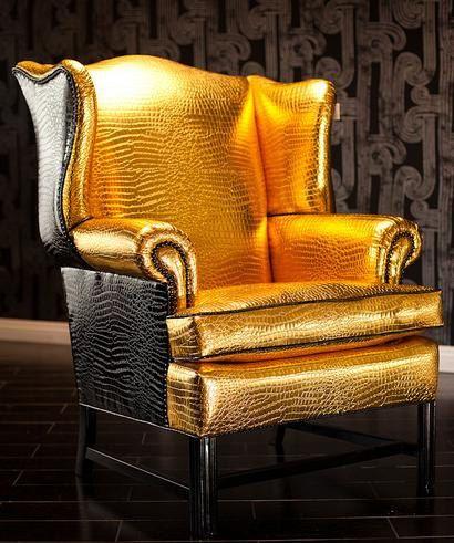 for my victorian chair?    Gold Crocodile upholstery vinyl fabric per yard by fabulessfabrics  $10.00 per yard
