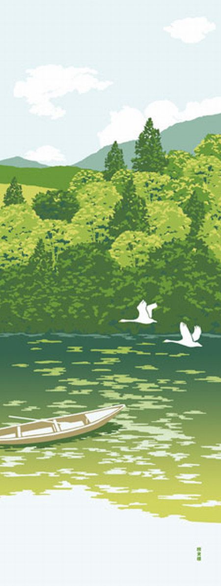 Japanese Tenugui Cotton Fabric, Riverboat, Bird, Lake, Green Forest, Hand Dyed Fabric, Fresh Summer Art Wall, Home Decor, Wall Decor, JapanLovelyCrafts