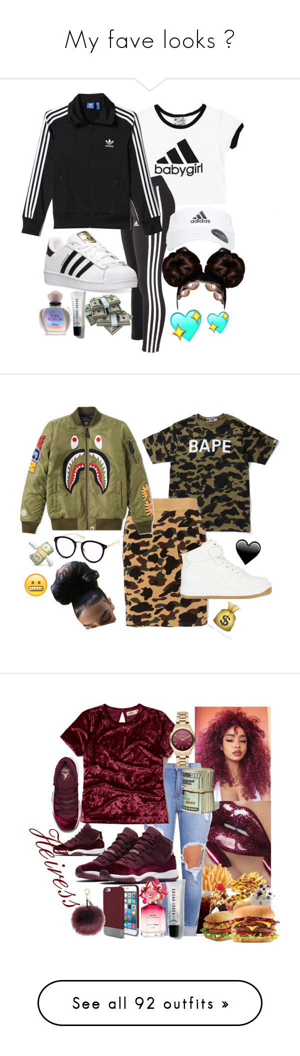 """My fave looks ✨"" by bxbysnoop ❤ liked on Polyvore featuring adidas, Christian Dior, Bobbi Brown Cosmetics, A BATHING APE, NIKE, Original Penguin, Hollister Co., Karl Lagerfeld, Marc Jacobs and Victoria's Secret"