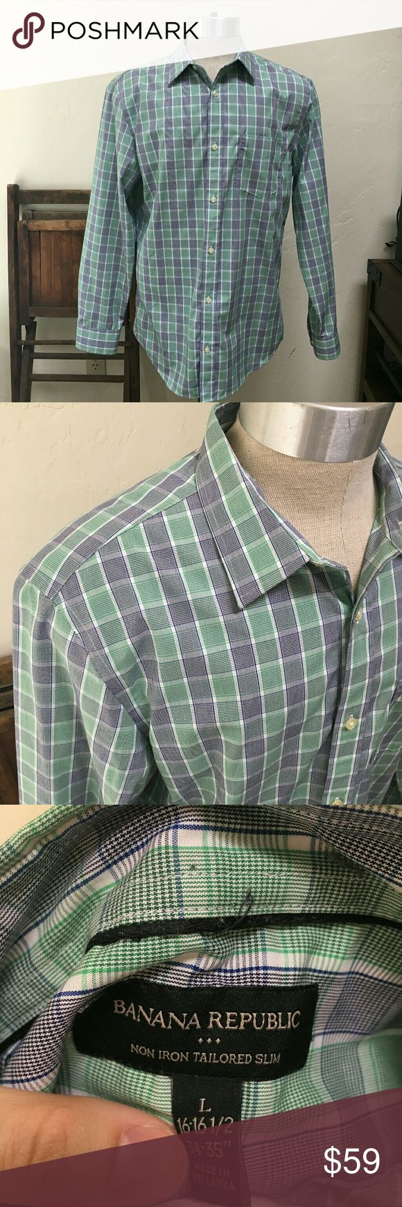 Banana Republic non iron dress shirt large Barely used no issues green and grey plaid dress shirt.  Non iron design. Banana Republic Shirts Dress Shirts