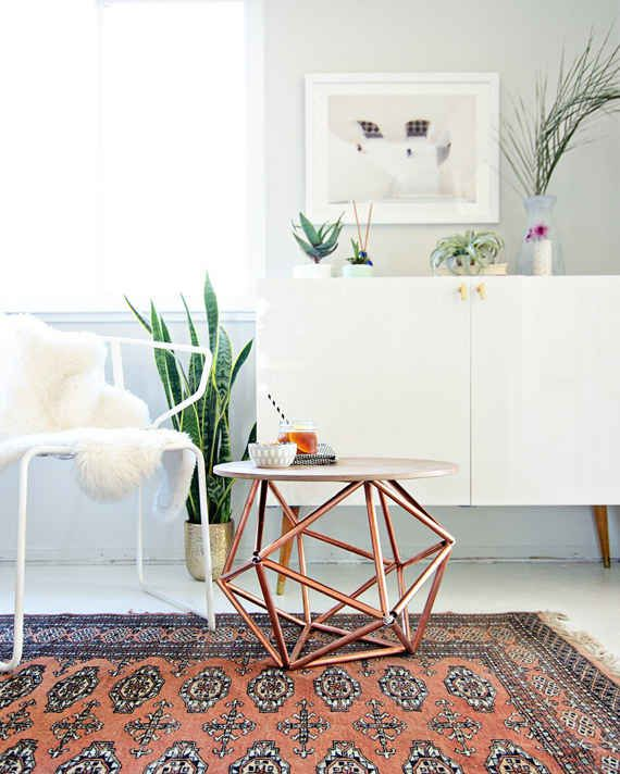 Turn some copper pipe into a geometric side table.
