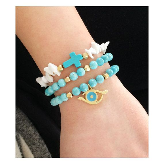 greek jewelry, gemstone jewelry, chaolite gemstone, evil eye bracelet, evil eye jewelry, turquoise bracelet, cross bracelet, greek evil eye