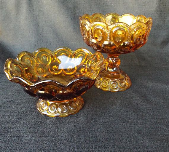Amber MOON and STARS Glass Compote, and Vintage Pedestal Bowl, Footed Candy Dish Mini Bundle LE Smith Glass