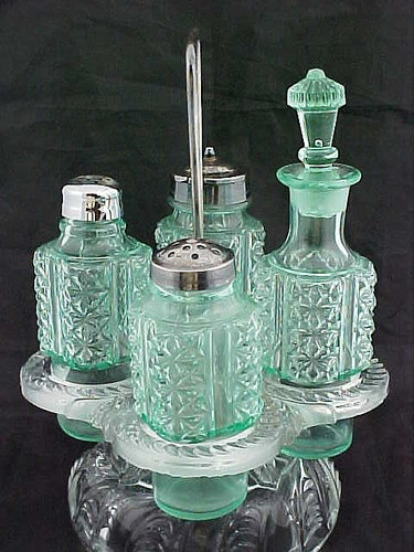 c1890 Paneled FINE CUT Green Vaseline CASTOR SET 4 pc w/Glass Holder