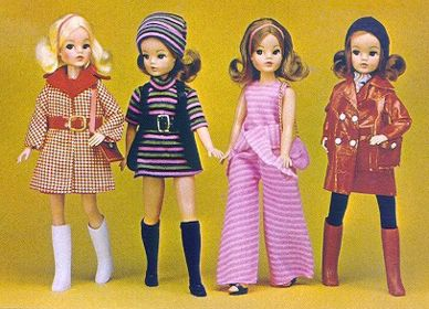 Vintage early 70s Mod Fashion Sindy dolls.