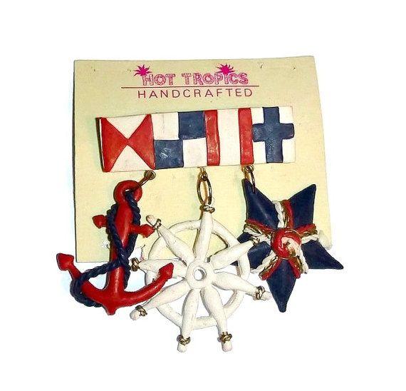 Vintage Nautical Anchor Brooch Ships Wheel by PopcornVintageByTann