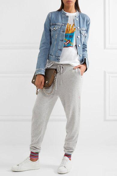 Chinti and Parker   Stripe Cuff cashmere track pants   NET-A-PORTER.COM