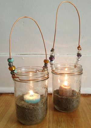 Tutorial for glass lanterns—pretty way to decorate summer deck, or light your way on an evening walk with kids.