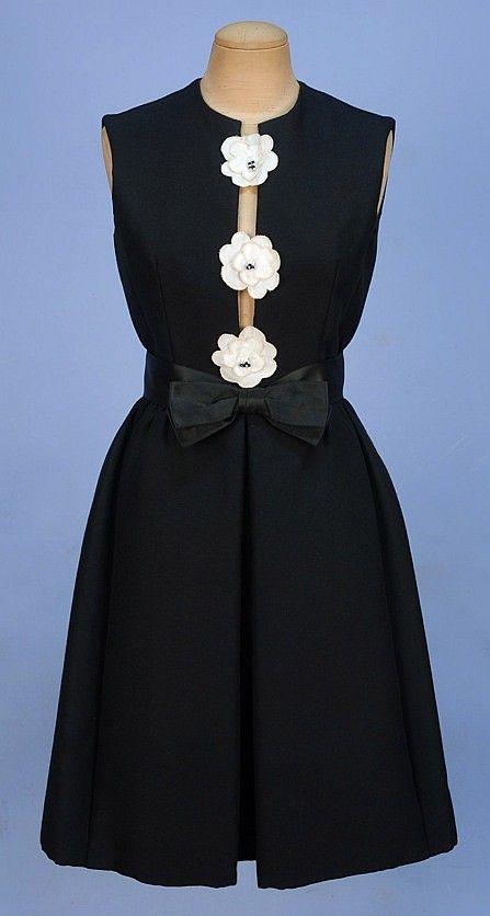 c. 1965 HUBERT LATIMER for IRENE Black Wool DRESS, w/White cloth beaded center flowers, hidden pockets, Satin ribbon belt...