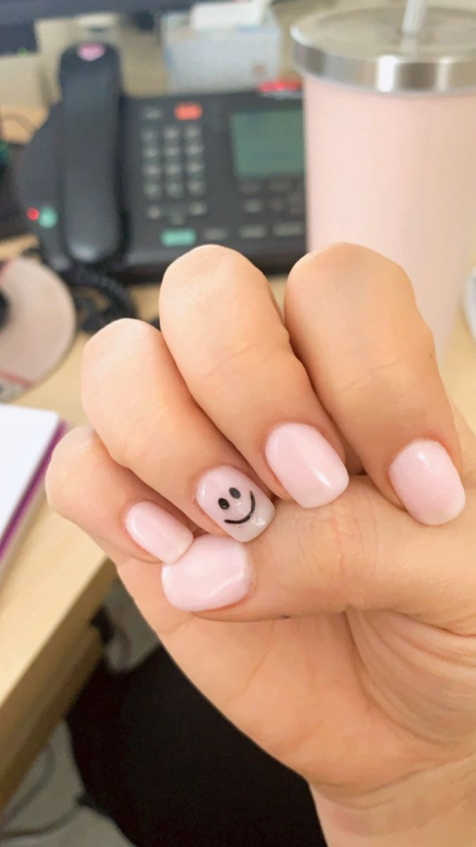 Smiley Face Manicure Simple Acrylic Nails Soft Nails Short Acrylic Nails Designs This freehand, handpainted design is. smiley face manicure simple acrylic