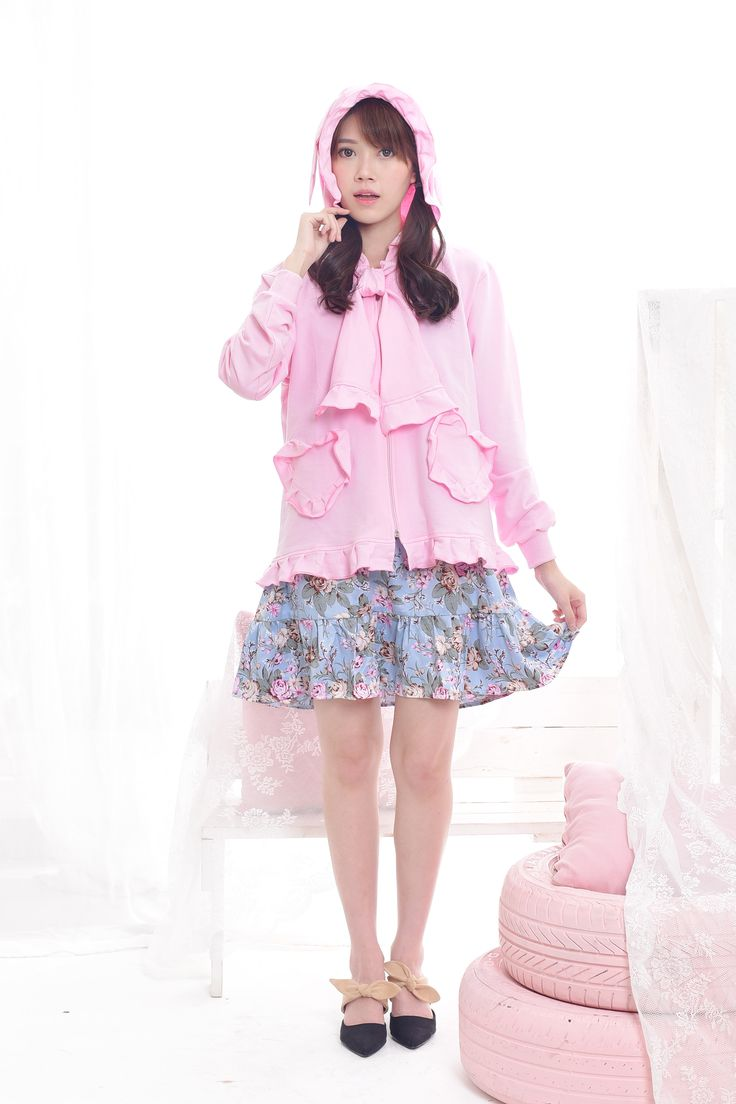 $23. Shop our cute kawaii pink winged animal ear hoodie jacket with heart pockets. Jual jaket kuping lucu warna pink dengan kantong hati, model harajuku Jepang. Ship worldwide! #pastel #fairykeijacket #hoodie #harajuku #fashion #asian #style #look