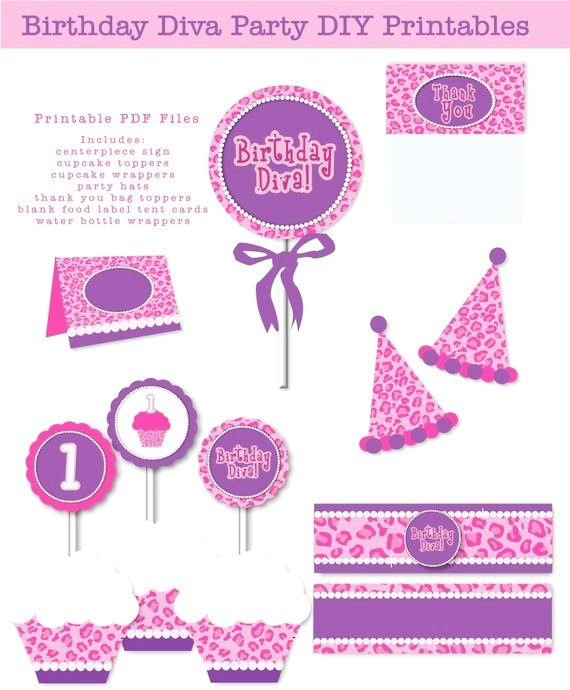 purple divas party | ... Diva Purple Pink Leopard Pearls Printable Birthday Party Digital Files