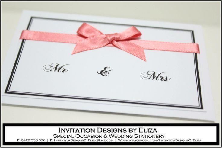 Mr & Mrs Wedding Ring Card Design {Wedding} Coral,Black & White Theme www.facebook.com/InvitationDesignsByEliza