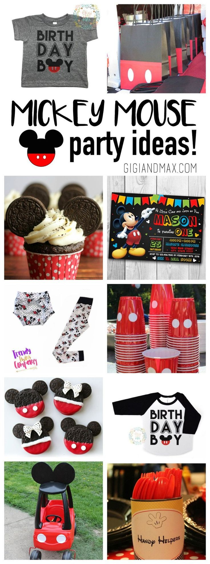 Planning for a birthday party is so fun! But it is a lot of work to get all the details just right! We've found some of our favorite Mickey Mouse party ideas and wanted to share them with you!      Mickey Mouse party favor bags from Catch My Party  Mickey Mouse cupcakes from Lil' Luna  Mickey Mouse invitation from Cute Invitation Mickey Mouse Leggings from Trendy Twins Company (use code Mickey for 20% off) Mickey cups from Catch My Party Mickey + Minnie Oreo cookies from Living L...