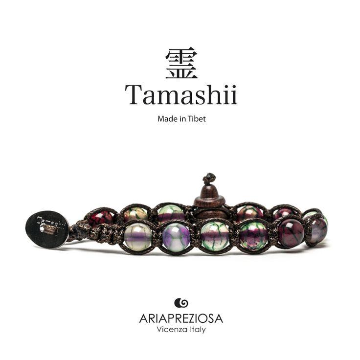 Bracciale originale tibetano Tamashii realizzato con pietre naturali AGATA CILIEGIA NERA.