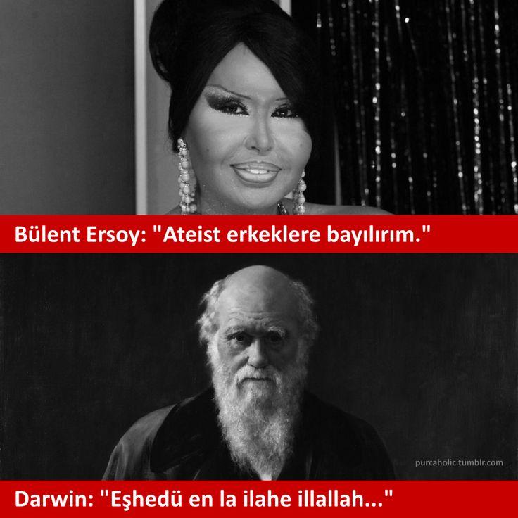 """Bülent Ersoy: """"Ateist erkeklere bayılırım."""" Darwin: """"Eşhedü en la ilahe illallah...""""  #sözler #şaka #mizah #matrak #komik #espri #gırgır #dialog #bülentersoy #bülentersoydiyalogları #augsburg #münchen"""