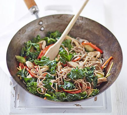 Chicken, kale & sprout stir-fry - This recipe was easy and delicious! I served it with brown rice, and also added garlic and onion (because seriously, why would you ever leave those out?). Definitely a keeper.