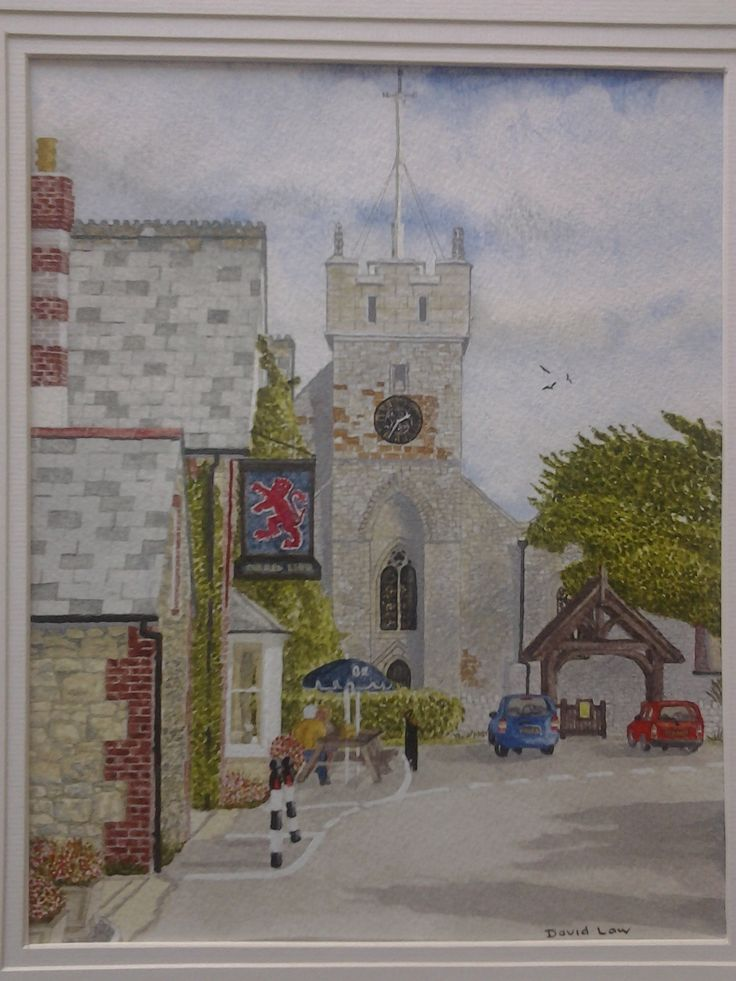 Isle of Wight. Red Lion pub and All Saints Church in Freshwater.