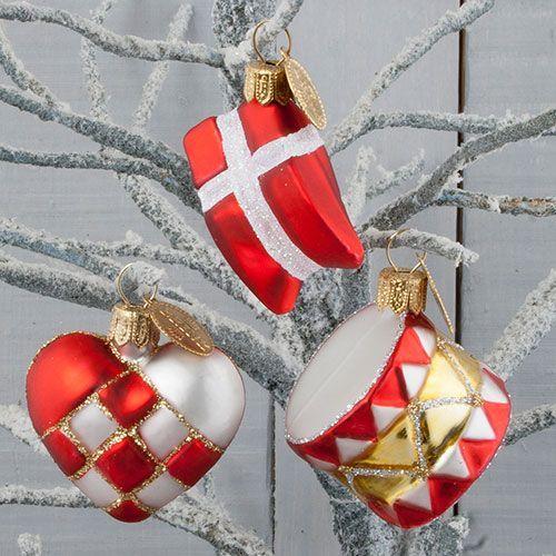 Brink Nordic juletræspynt - Hjerte, flag og tromme Smuk håndlavet dekoration til juletræet - Coop.dk
