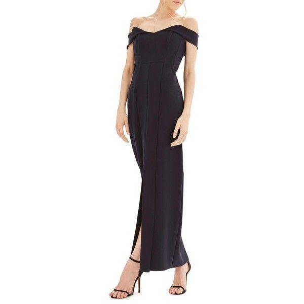 Women's Topshop Bride Crepe Gown (235 CAD) ❤ liked on Polyvore featuring dresses, gowns, navy blue, off the shoulder dress, navy evening dress, navy blue evening gown, navy gown and bridal gowns