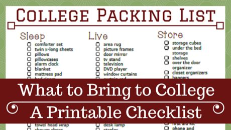 Free, Downloadable, Printable College Packing Checklist   www.classictasselsandmore.com #backtoschool #collegepacking #printable #free #homeorganization