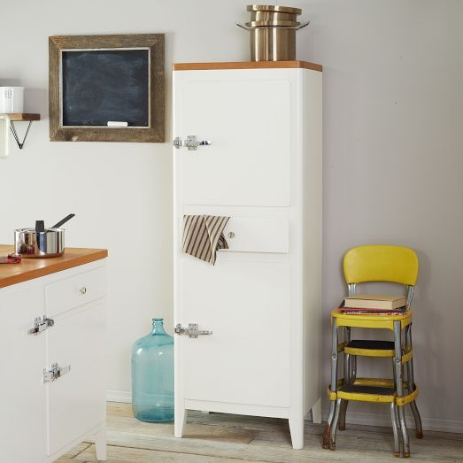 Retro style storage cabin kitchen tower from west elm for West elm yellow chair