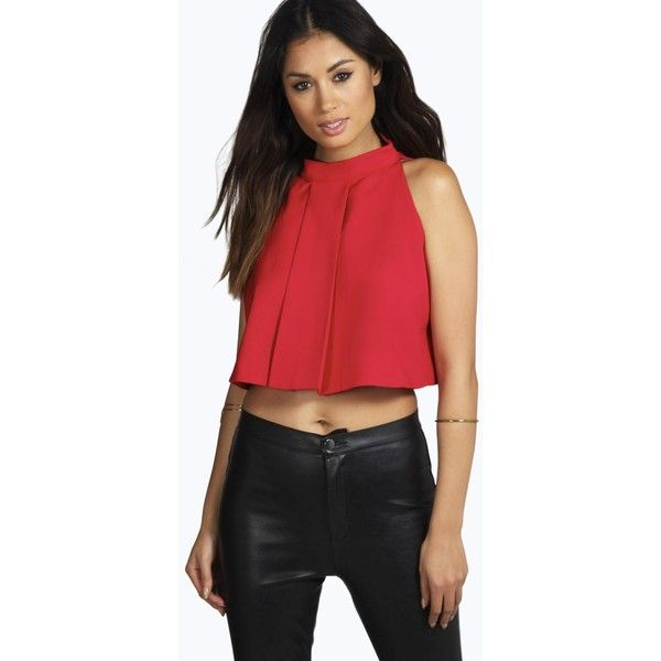 Boohoo Night Megan Tailored High Neck Flared Cropped Top (100 RON) ❤ liked on Polyvore featuring tops, red, body suit, off the shoulder crop top, red lace top, flat top and lace camisole tops