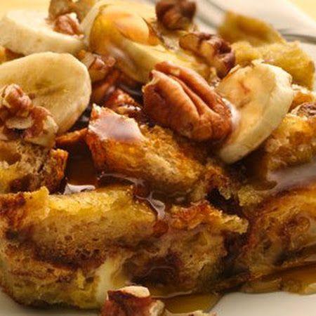 Slow cooker banana foster brioche bread pudding