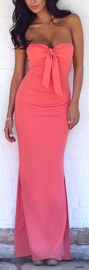 Coral Tie-Front Strapless Maxi Dress