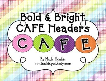 "Are you implementing the Two Sisters CAFE system for teaching and assessing literacy?  You need these bright and bold posters and letters to spell out CAFE for your classroom CAFE board!  ComprehensionAccuracyFluencyExpand VocabularyThis file an ""unofficial adaptation of the Daily 5 by Gail Boushey & Joan Moser""."