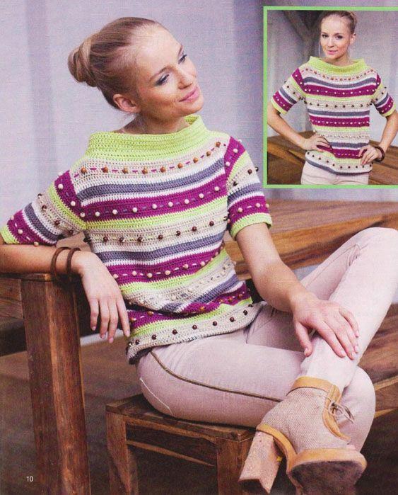 Пуловер с воротником стойкой, украшенный бусинами: вязание крючком