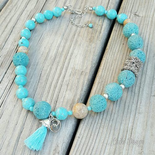 Designer Necklace with Blue Lava, Turquoise and Round Sand Stones, Silver Beads & Decorative Tassel - Chiki Custom made unique jewelry by Chiki Design