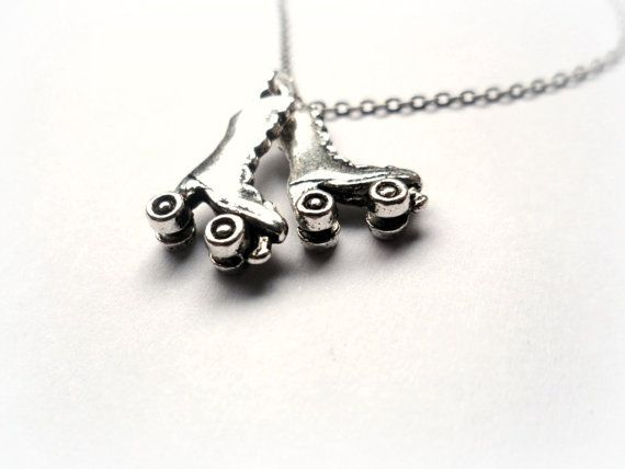 Silver Roller Derby Roller Skates Necklace