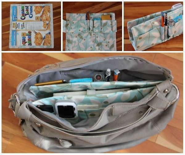 Une boite de céréales transformée en organisateur de sac à main. 13 Idées créatives avec des emballages et des boites vides