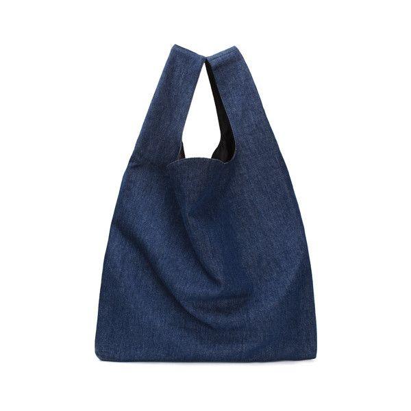 MM6 Maison Margiela | Denim Shopping Bag | My Chameleon (€165) ❤ liked on Polyvore featuring bags, handbags, shopper handbags, denim purse, shopping bag, denim handbags and denim bag