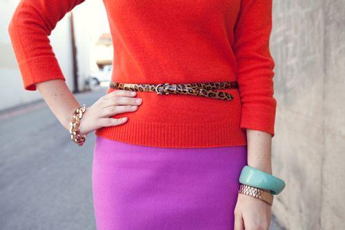 pink skirt orange sweater leopard belt (via Kendi Everyday)