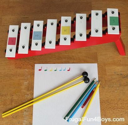 This simple activity combines addition practice with musical composition. Works with a wide age range, and you can use whatever instruments you have (or make homemade instruments!). This was a favorite activity that the boys have chosen to come back to!