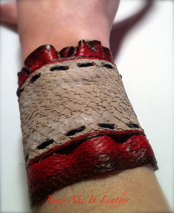 Zombie Flesh Wrist Cuffs with Lace by BuryMeInLeather on Etsy