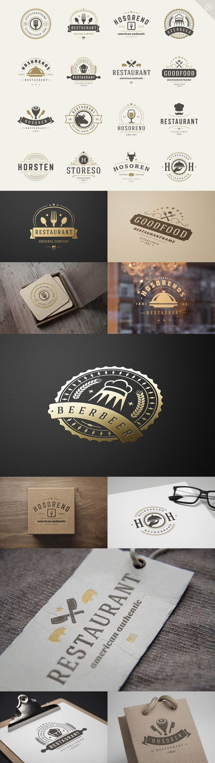 16 Restaurant Logotypes and Badges #design Buy Now: https://creativemarket.com/VasyaKo/324541-16-Restaurant-Logotypes-and-Badges?u=ksioks